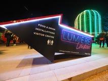 Lichte het festivalrichtingen van Lumierelonden Stock Foto