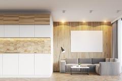 Lichte houten woonkamer en keuken Royalty-vrije Stock Foto