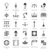 Lichte inrichting, pictogrammen van lampen de vlakke glyph Huis en openluchtverlichtingsmateriaal - kroonluchter, muurblaker, bol Stock Foto