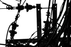 Lichte kabels in witte hemel abstracte zwart-witte minimalistisch voor ontwerp royalty-vrije stock afbeeldingen