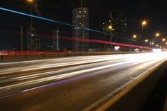 Lichte lijn in de stad van Bangkok Stock Foto