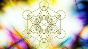 Lichte merkaba en Bloem van het leven op abstracte kleurenachtergrond en fractal structuur Heilige Meetkunde stock illustratie