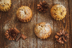 Lichte muffins met sesam en kegels Royalty-vrije Stock Foto