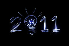 Lichte schilderende 2011 op zwarte achtergrond Royalty-vrije Stock Foto's