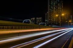 Lichte slepen: Ap Lei Chau brug royalty-vrije stock afbeeldingen