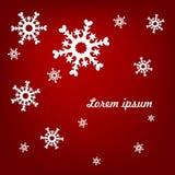 Lichte sneeuwvlokken op een rode achtergrond Royalty-vrije Stock Fotografie