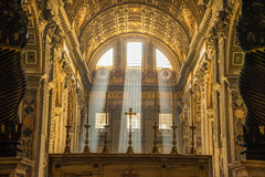 Lichte Stralen St Peter Rome Stock Foto
