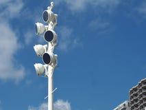 Lichte toren bij Atami-strand royalty-vrije stock foto