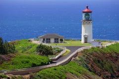 Lichte toren oceaanachtergrond Royalty-vrije Stock Foto