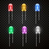Lichte uitzendende heldere diode, realistische stijlreeks stock illustratie
