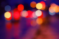 Lichte vlekken van de nachtstad Vage achtergrond Eleme Royalty-vrije Stock Foto's