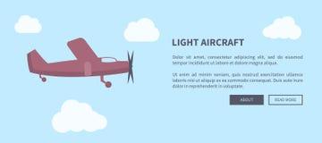 Lichte Vliegtuigenclose-up van Vliegtuig in Kleurenbanner vector illustratie