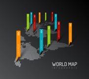 Lichte Wereldkaart met de tekens van de druppeltjeswijzer Stock Fotografie