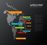 Lichte Wereldkaart met de tekens van de druppeltjeswijzer Royalty-vrije Stock Foto