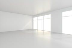 Lichte witte ruimte en groot venster het 3d teruggeven Royalty-vrije Stock Afbeelding