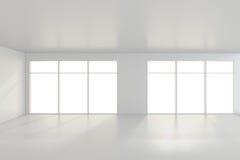 Lichte witte ruimte en groot venster het 3d teruggeven Stock Afbeeldingen