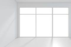 Lichte witte ruimte en groot venster het 3d teruggeven Stock Afbeelding