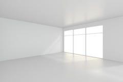 Lichte witte ruimte en groot venster het 3d teruggeven Royalty-vrije Stock Fotografie
