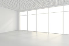 Lichte witte ruimte en groot venster het 3d teruggeven Royalty-vrije Stock Foto