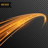 Lichteffect vector transparant met lijnwerveling en gouden fonkelingen stock foto