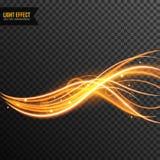 Lichteffect vector transparant met lijnwerveling en gouden fonkelingen royalty-vrije stock afbeelding