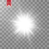 Lichteffekt des Glühens Starburst mit Scheinen auf transparentem Hintergrund Auch im corel abgehobenen Betrag vektor abbildung