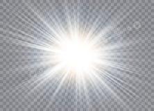 Lichteffekt des Glühens Stern-Explosion mit Scheinen stock abbildung
