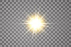 Lichteffekt des Gl?hens Starburst mit Scheinen auf transparentem Hintergrund Auch im corel abgehobenen Betrag Sun stock abbildung