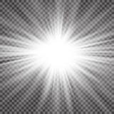 Lichteffekt des transparenten Blendenflecks des Sonnenlichts des Vektors speziellen Sun-Blitz mit Strahlen und Scheinwerfer Lizenzfreie Stockbilder