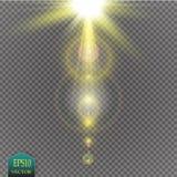 Lichteffekt des transparenten Blendenflecks des Sonnenlichts des Vektors speziellen Sun-Blitz mit Strahlen und Scheinwerfer Stockfotos