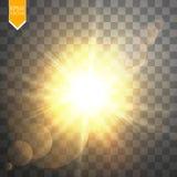 Lichteffekt des transparenten Blendenflecks des Sonnenlichts des Vektors speziellen Sun-Blitz mit Strahlen und Scheinwerfer Stockbilder