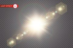 Lichteffekt des transparenten Blendenflecks des Sonnenlichts des Vektors speziellen Sun-Blitz mit Strahlen und Scheinwerfer vektor abbildung