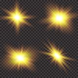Lichteffekt des transparenten Sonnenlichtblendenflecks Stern-Explosion mit Scheinen Auch im corel abgehobenen Betrag lizenzfreie abbildung