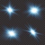 Lichteffekt des transparenten Sonnenlichtblendenflecks Stern-Explosion mit Scheinen Auch im corel abgehobenen Betrag vektor abbildung