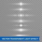 Lichteffekt oder Sternglanzblendenfleckvektor lokalisierten transparenten Hintergrund der Ikonen Stockfotos