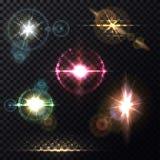 Lichteffekte des Sonnenlichts durch Linsenhintergrund Stockfotografie