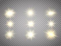 Lichteffekte lokalisiert Sun-Blitz mit Strahlen und Scheinwerfer Lizenzfreies Stockfoto