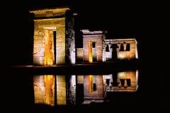 Lichten bij nacht dankzij de gift van de Egyptenaren Stock Afbeeldingen