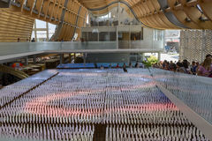 Lichten binnen pavillion hoofdzaal van China, EXPO 2015 Milaan Royalty-vrije Stock Afbeeldingen