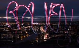 Lichten in de stad van Rouen Frankrijk Royalty-vrije Stock Foto