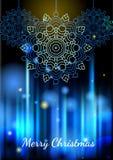 Lichten en sneeuwvlokken op blauwe vage achtergrond, bokeh effect Royalty-vrije Stock Foto