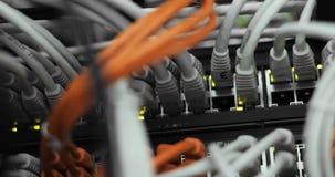 Lichten en verbindingen op netwerkserver geladen netwerkmedia convertors en ethernet schakelaars stock footage