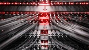 Lichten en verbindingen op netwerkserver 4k het 3d teruggeven stock footage