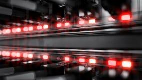 Lichten en verbindingen op netwerkserver 4k het 3d teruggeven royalty-vrije illustratie