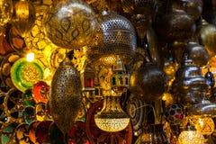 Lichten in Marrakech Medina stock foto