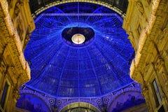 Lichten in Milaan - Galleria Vittorio Emmauele Stock Foto
