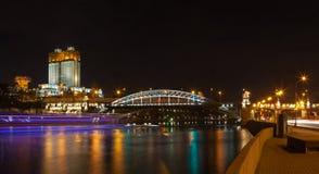 Lichten van nacht Moskou Stock Foto