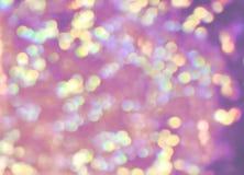 Lichten van pastelkleur lilac, groene, gele, violette, purpere bokeh, echt p royalty-vrije stock foto
