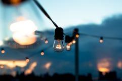 Lichten in Zonsondergang Royalty-vrije Stock Foto