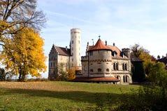 Lichtenstein Castle. Is a famous fairy tale style castle near Honau, Swabian Alb, Baden-Wuerttemberg, South-Germany. The name Lichtenstein means light (white Royalty Free Stock Photo